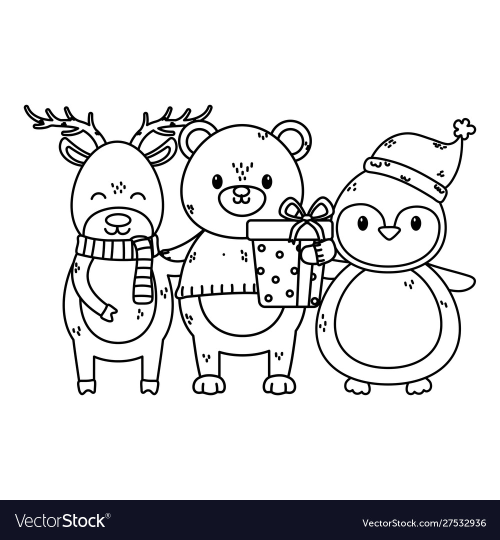 Polar bear penguin and deer with gift celebration