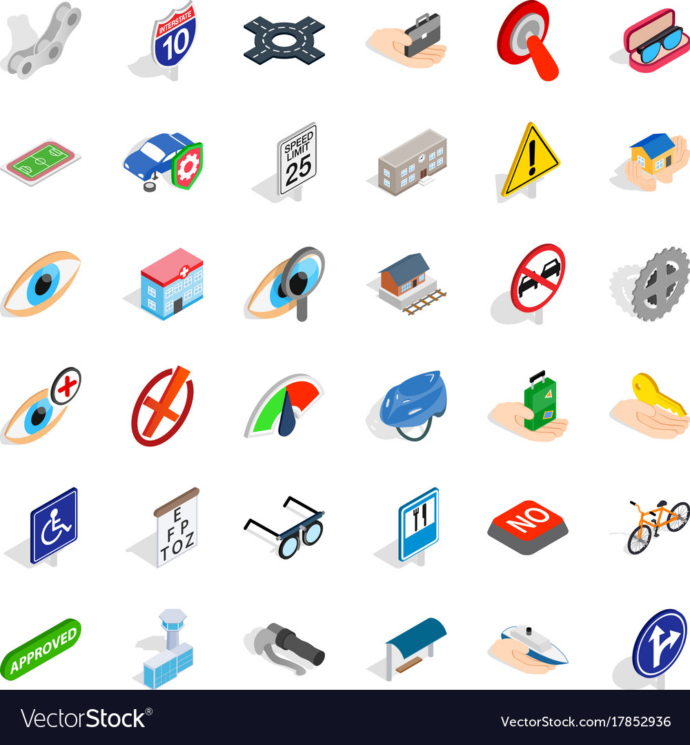 Rood icons set isometric style vector image