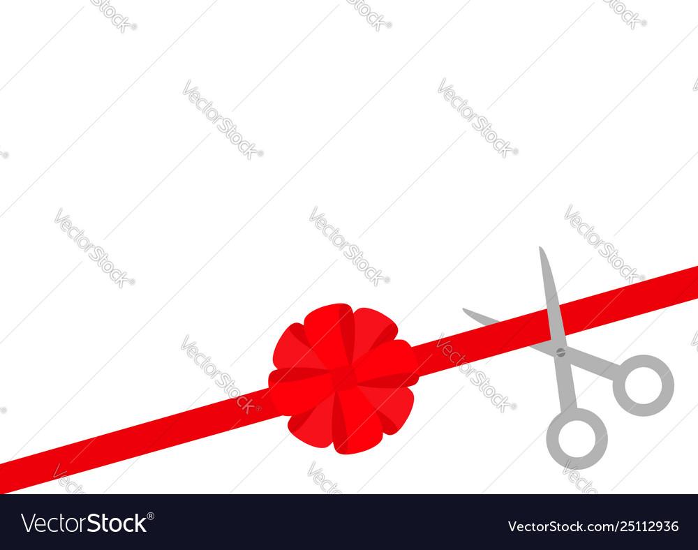 Scissors cut straight red ribbon on right big