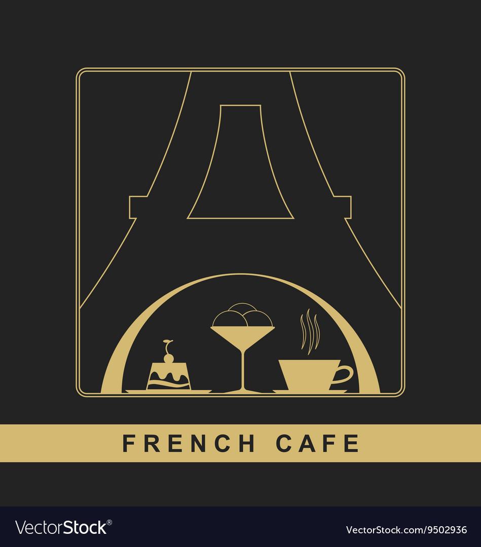 Traditional French kitchen mono line logo