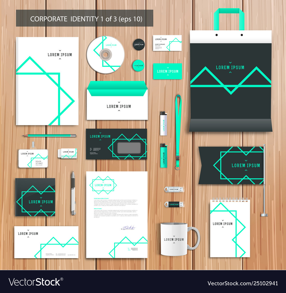 Artistic corporate identity template with color