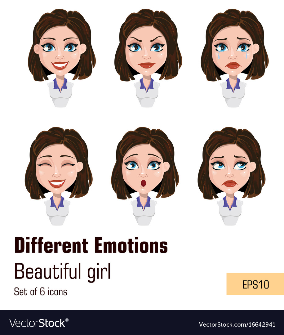 Business woman with different face expressions