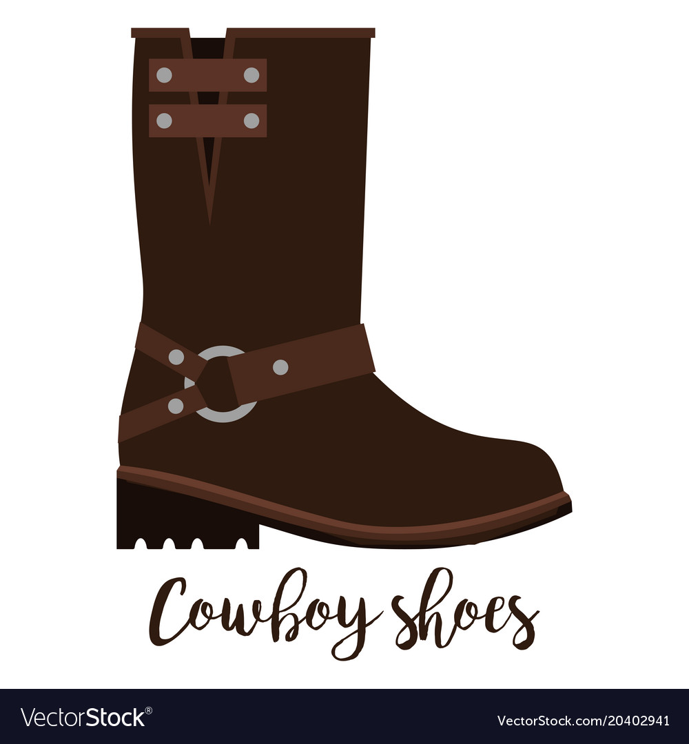Cowboy shoes icon with text