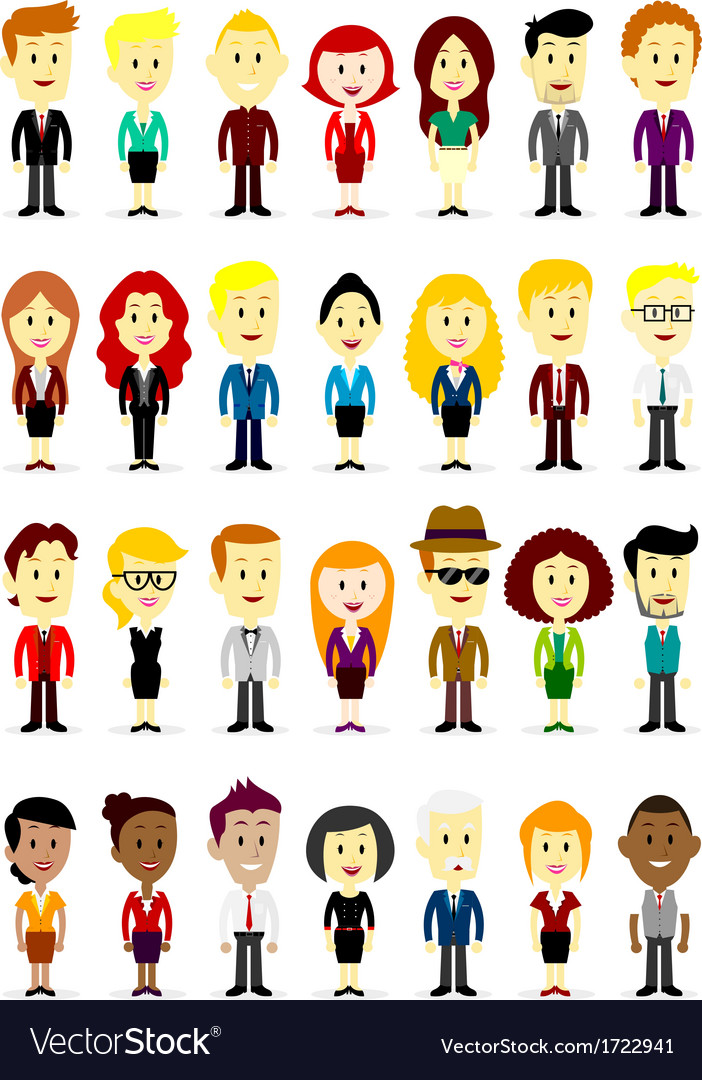 Cute Cartoon Business Man and Woman Characters vector image