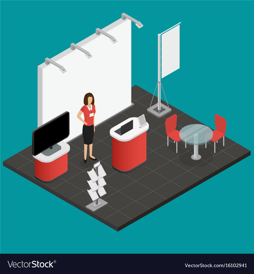Exhibition show stand for presentation isometric