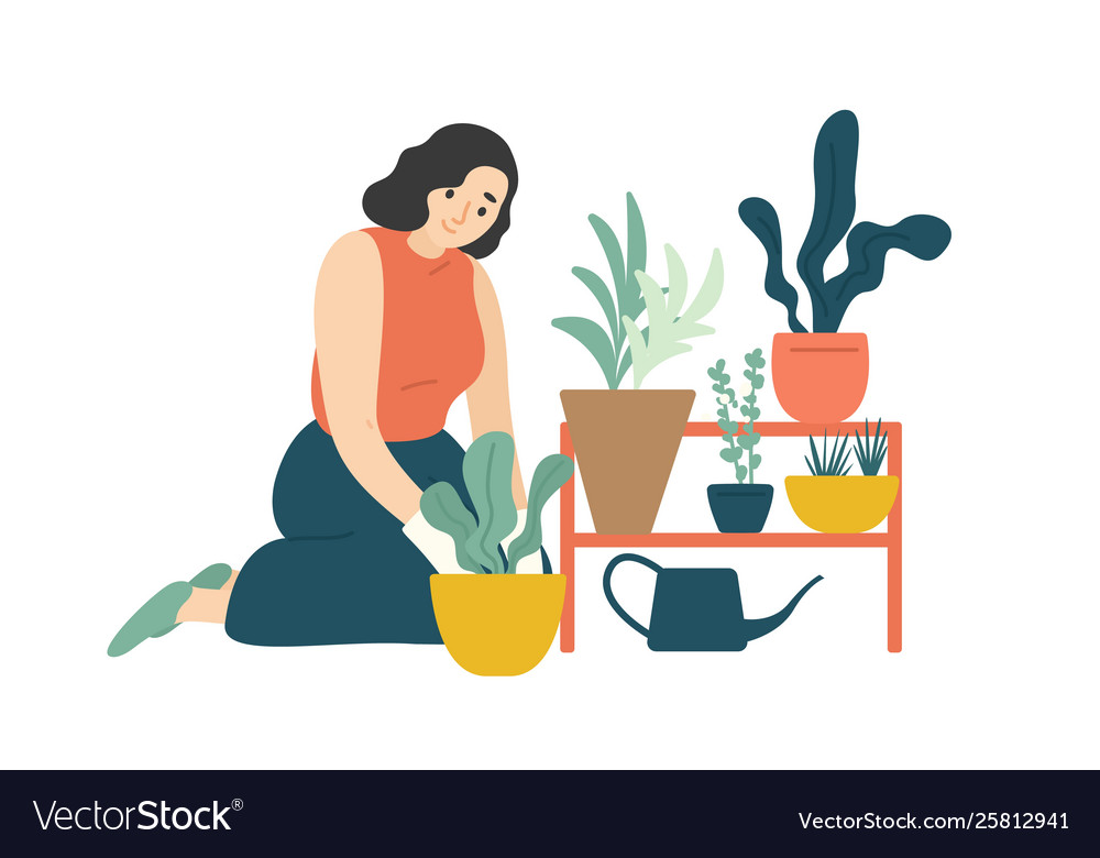 Funny happy girl taking care houseplants