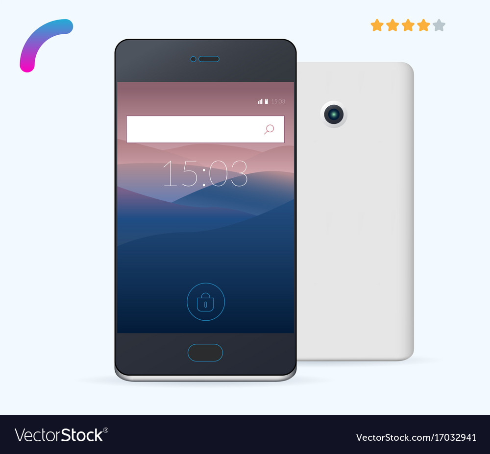 Realistic smartphone isolated on light background