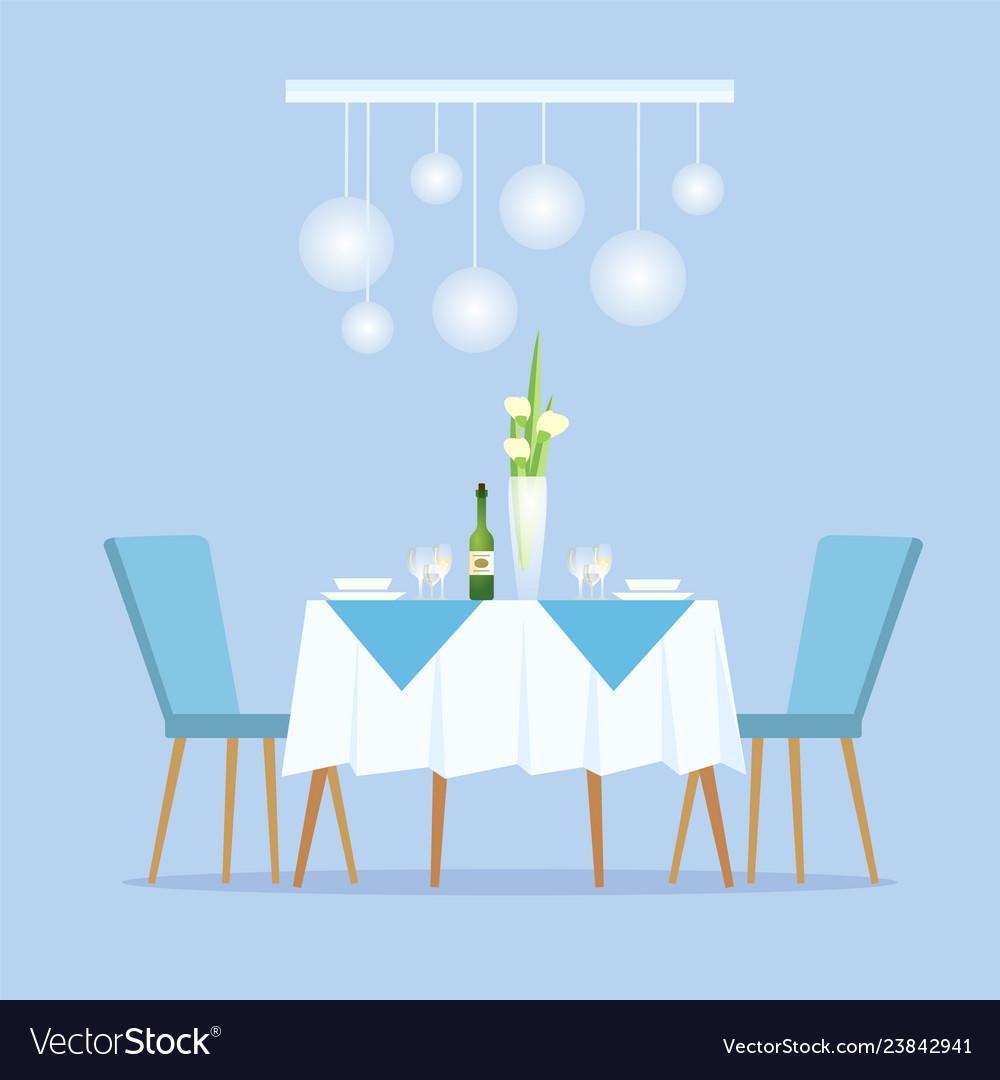 Restaurant With Light Color Decoration Interior Vector Image