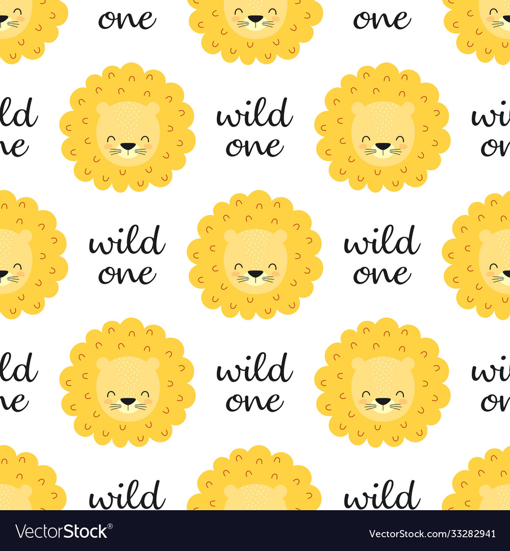 Seamless pattern with faces lions