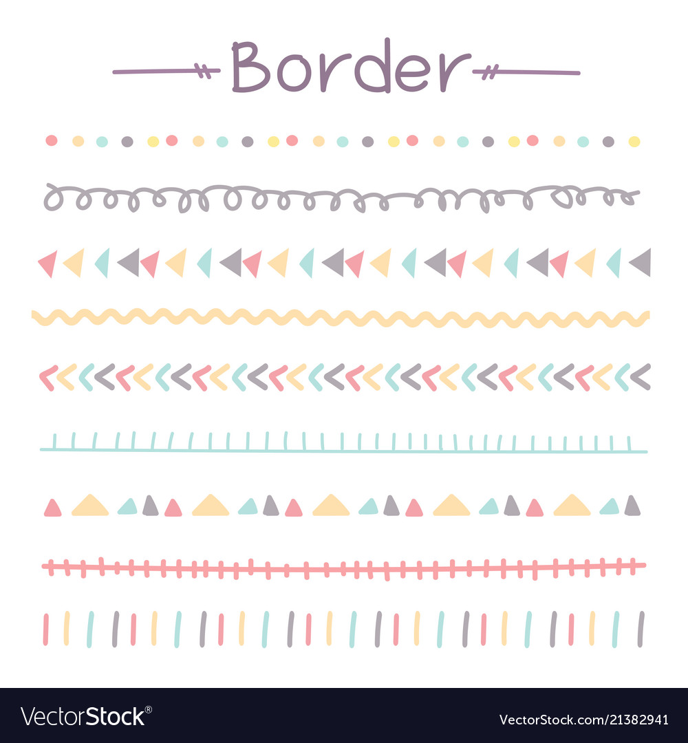 Set of colorful doodle borders