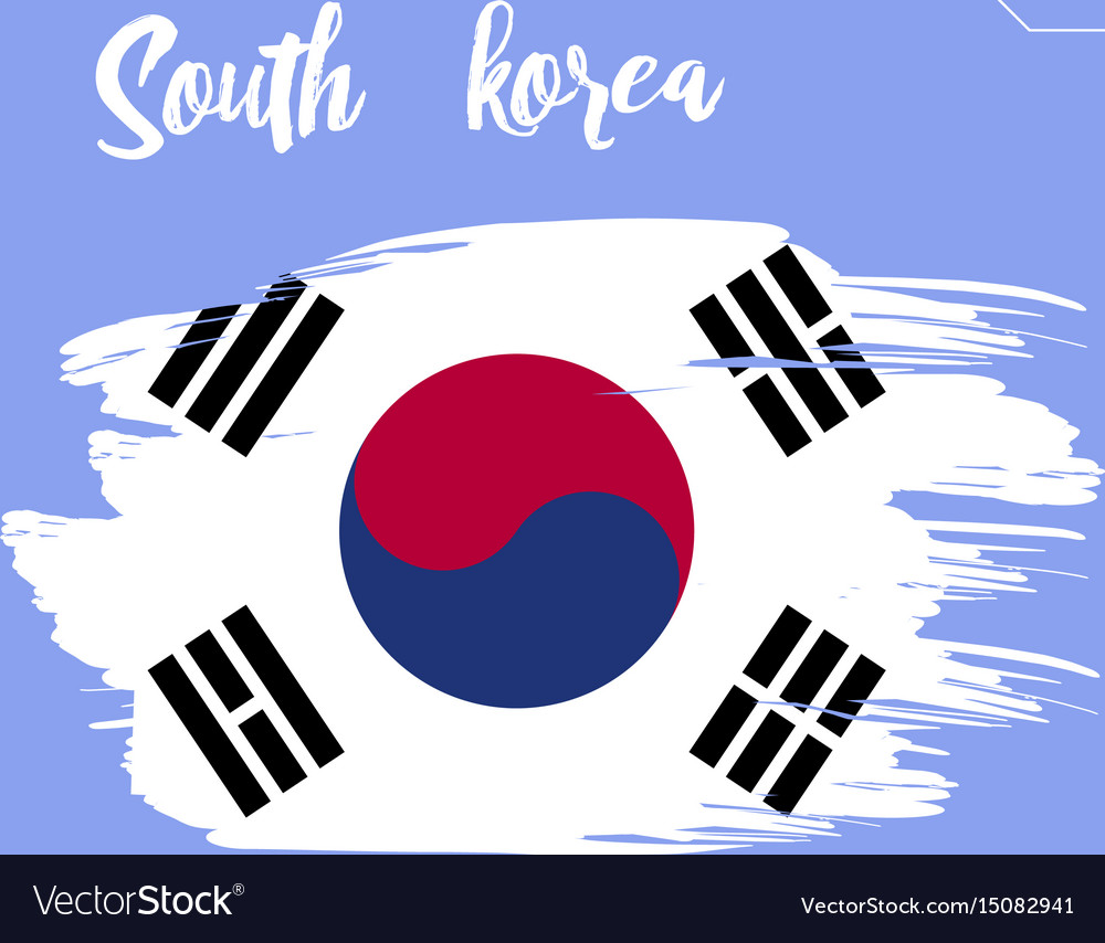 south korea flag brush strokes painted royalty free vector rh vectorstock com south korea flag vector download South Korean Flag Designs