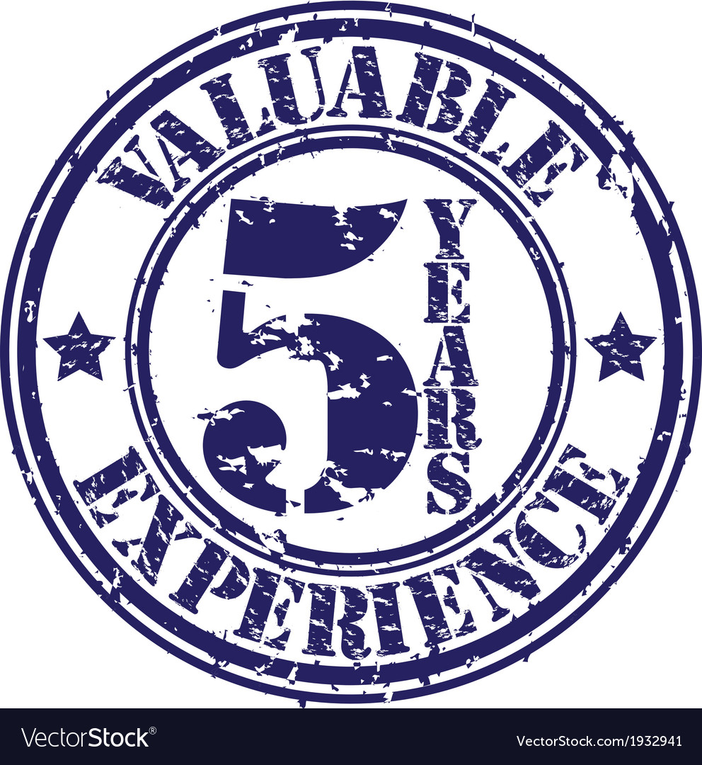 Valuable 5 years of experience rubber stamp vector image