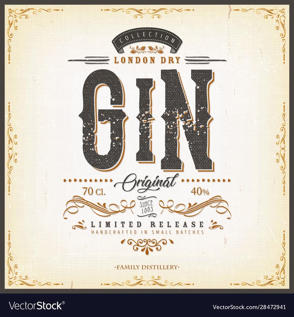 Vintage london gin label for bottle