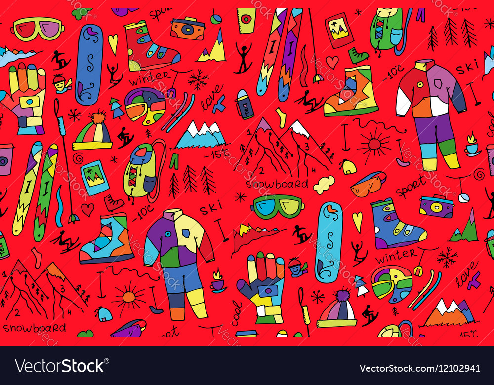 Winter sport seamless pattern for your design