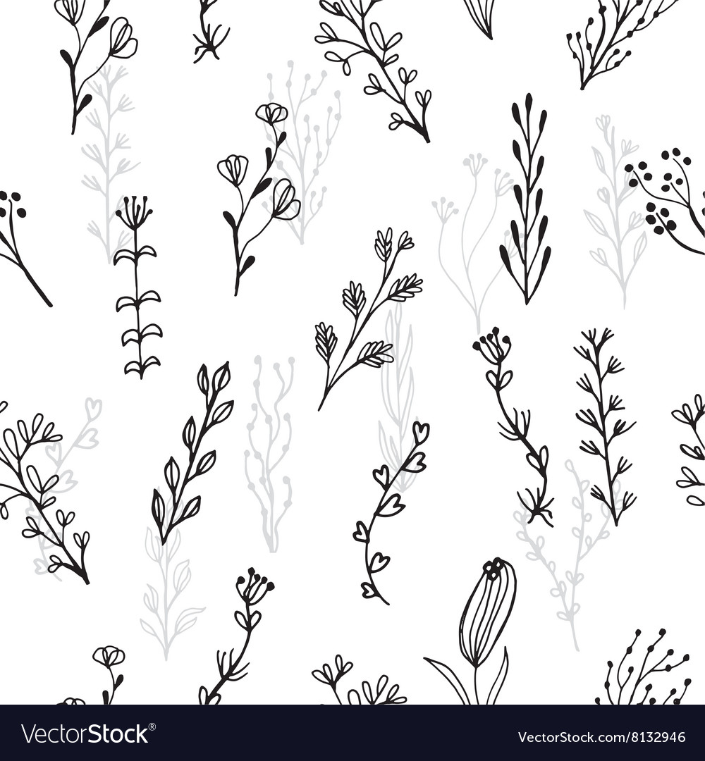 Abstract floral seamless pattern with branches and vector image
