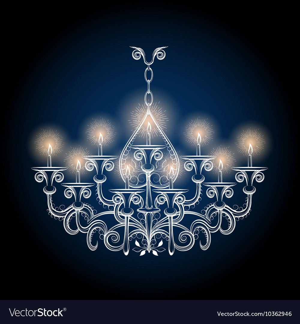 Antique gothic vintage chandelier vector image - Antique Gothic Vintage Chandelier Royalty Free Vector Image