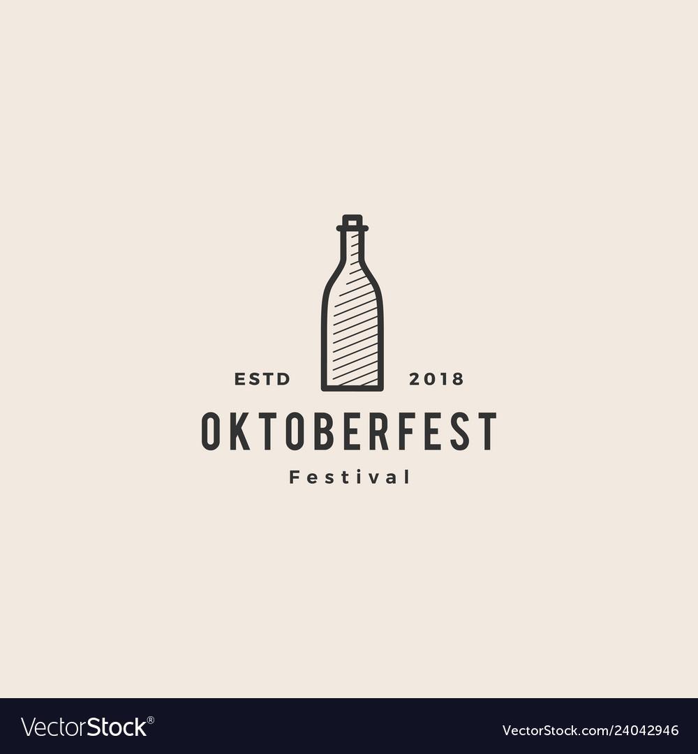 Beer bottle oktoberfest festival logo hipster