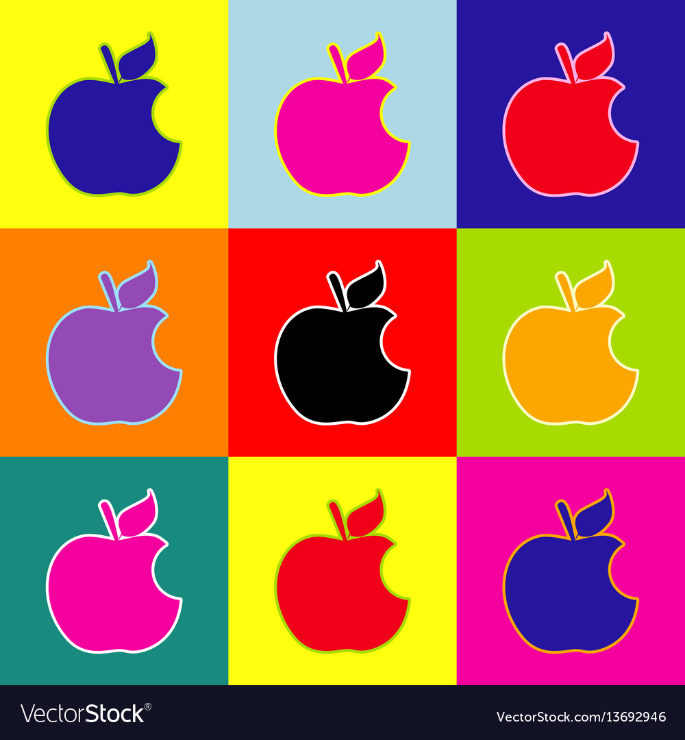 bite apple sign pop-art style colorful royalty free vector