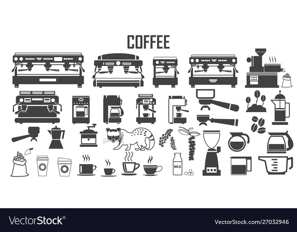 Coffee machine icon mono symbol