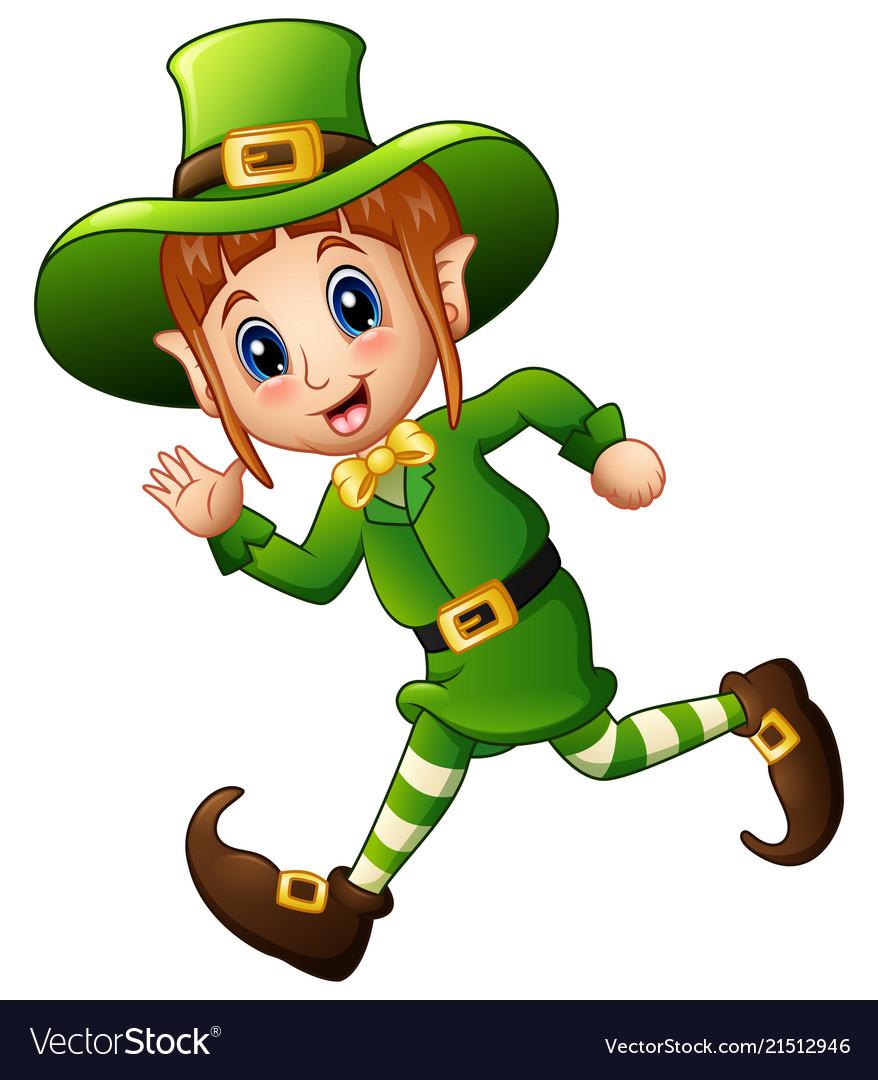 Cute cartoon girl leprechaun running vector image