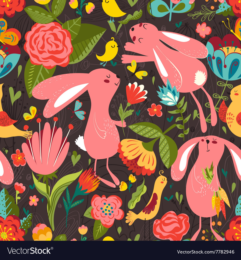 Flowers and bunnies seamless pattern