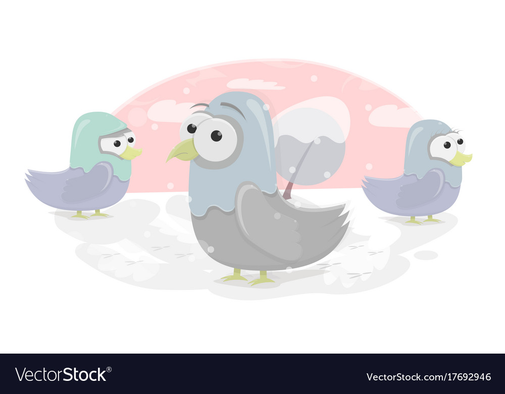 Funny birds cartoon character doves for