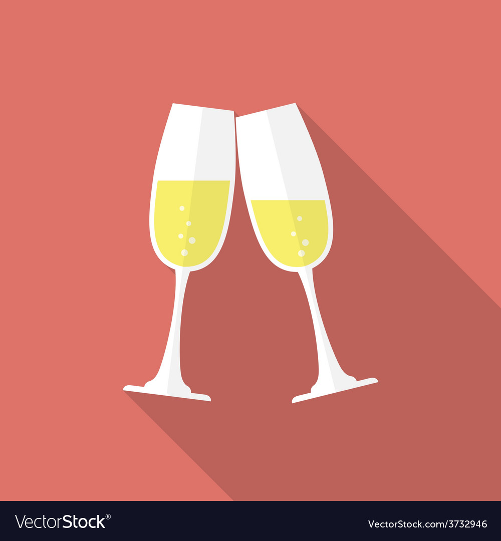 Glasses of champagne Flat style icon