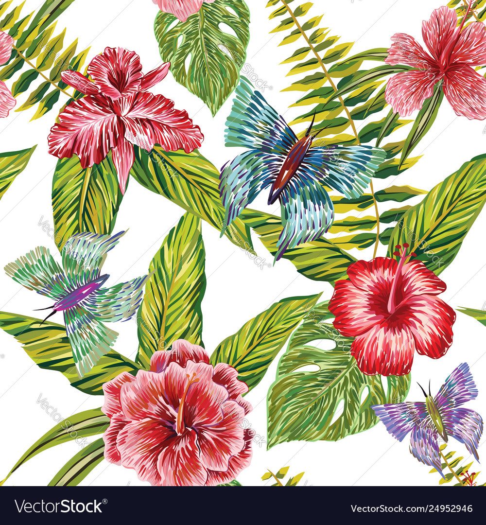 Hand drawn tropical leaves flowers and butterfly
