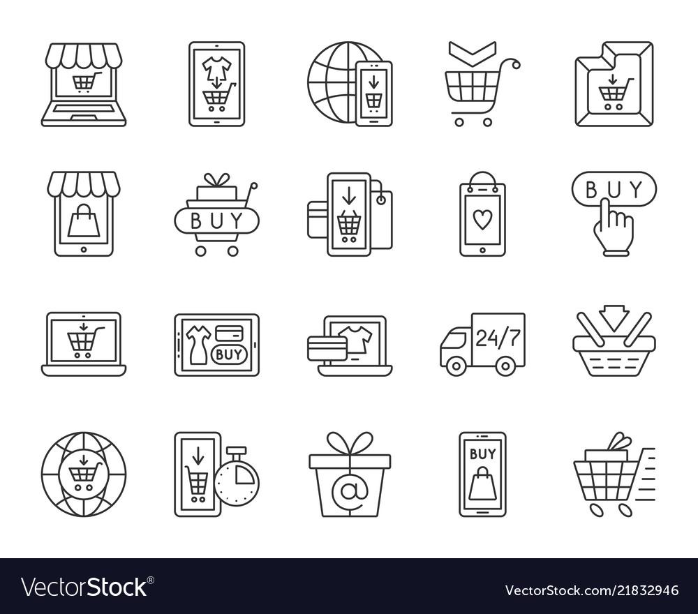 Online shop simple black line icons set
