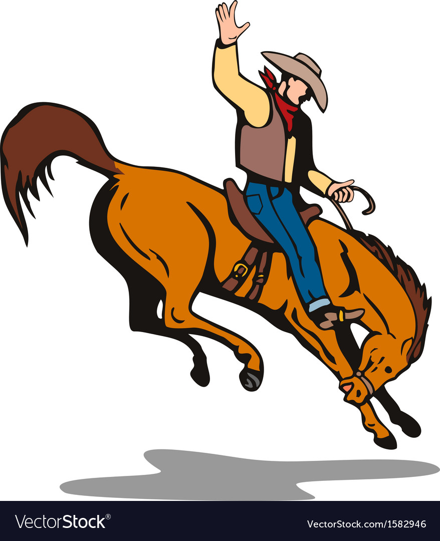 Rodeo Cowboy Riding Horse Royalty Free Vector Image