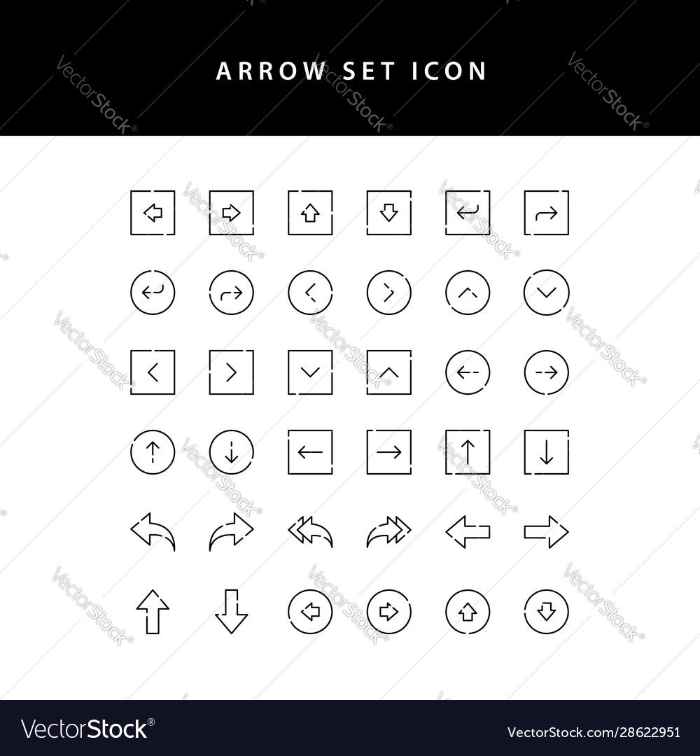 Arrows icons set outline