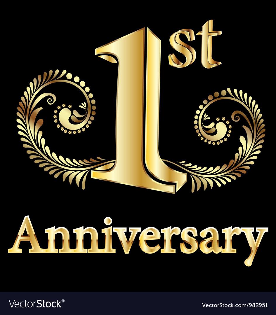 First anniversary happy birthday vector image