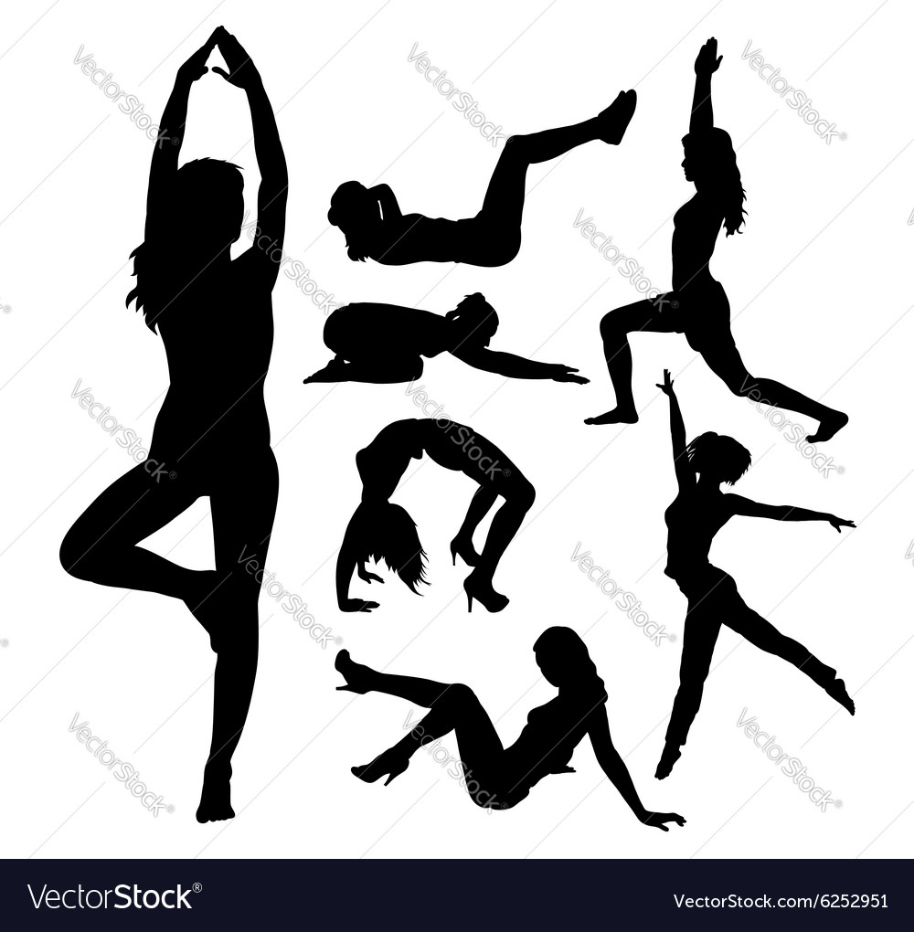 Fit girl fitness sport activity silhouettes