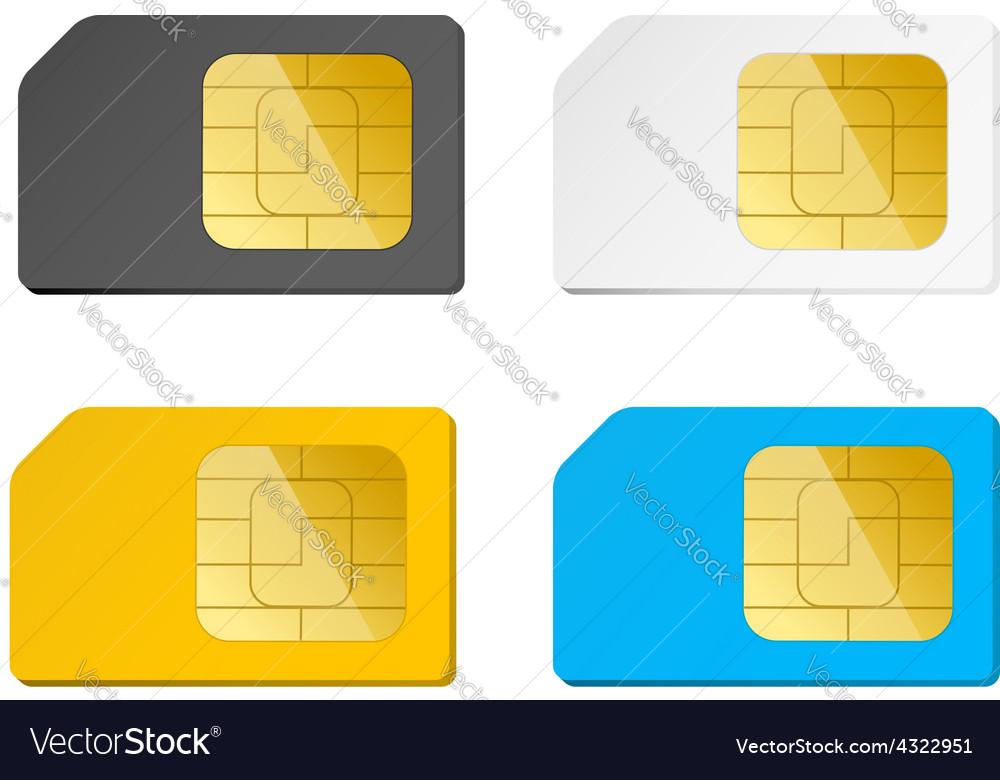 Four sim cards black white blue yellow