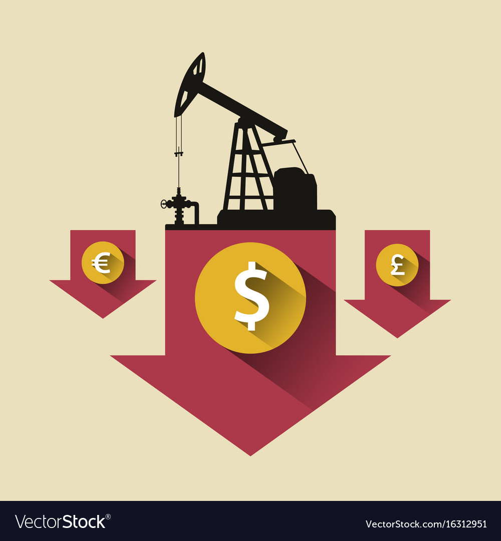 Oil industry concept oil price falling down arrow