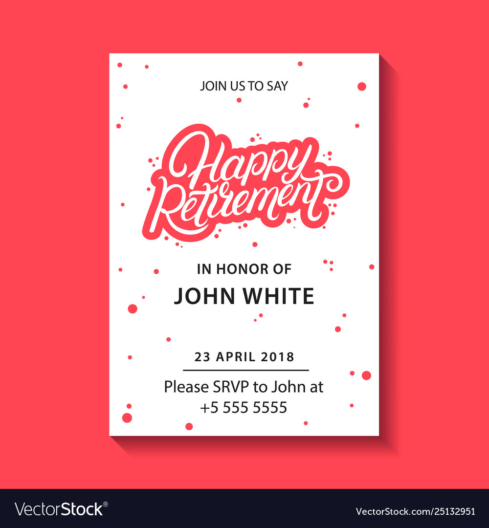 Retirement party invitation Royalty Free Vector Image