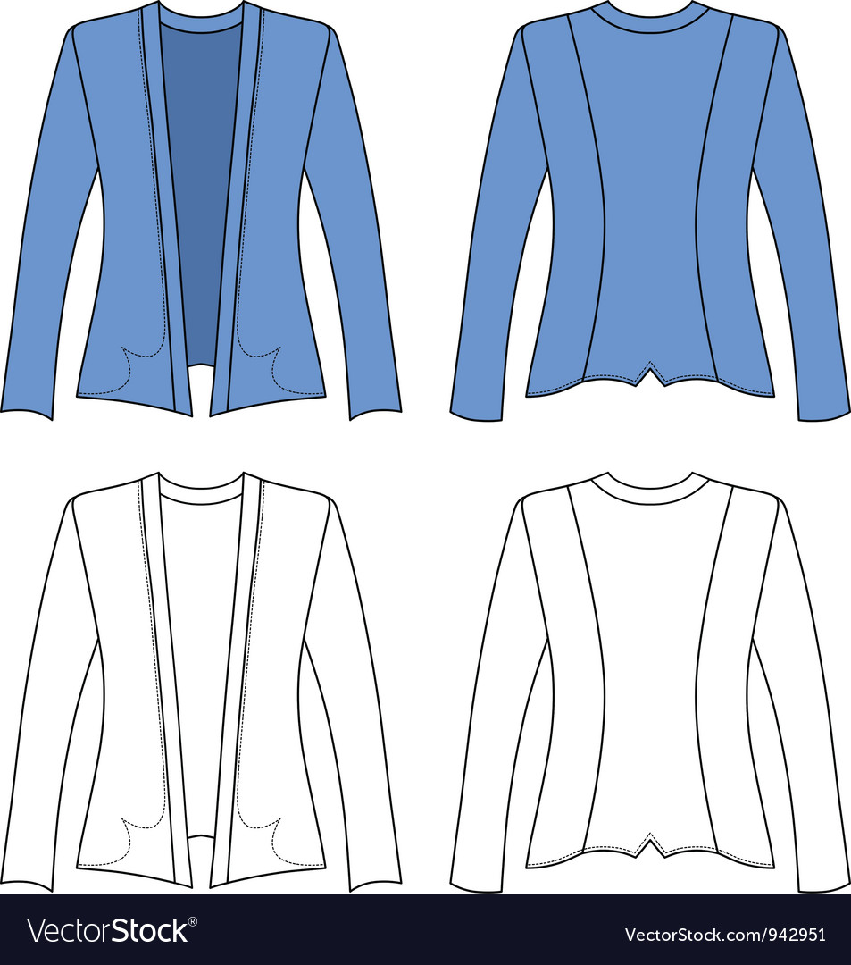Template outline of a woman jacket Royalty Free Vector Image