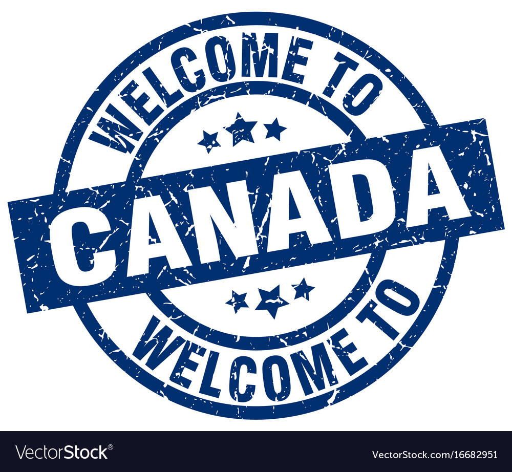 Welcome to canada blue stamp vector image on VectorStock