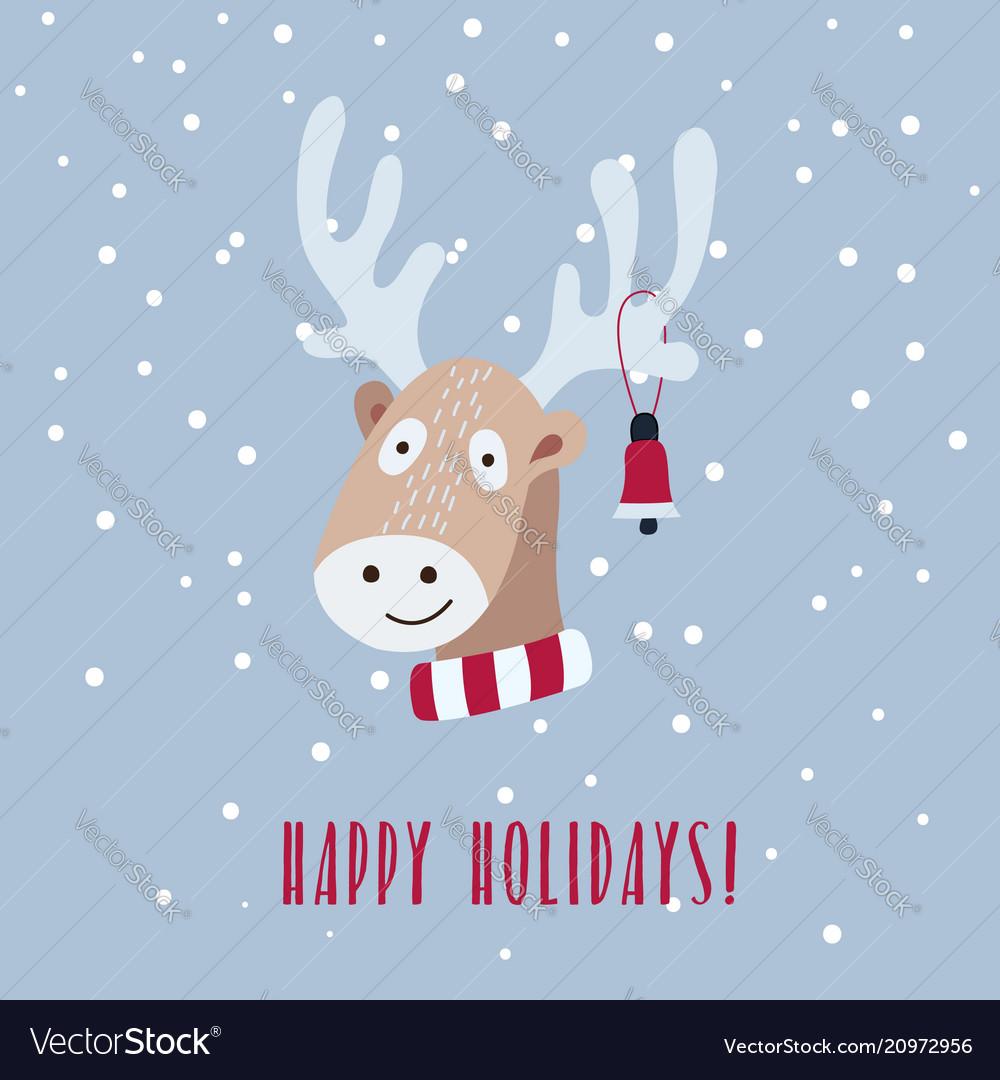 Christmas card with cute deer is