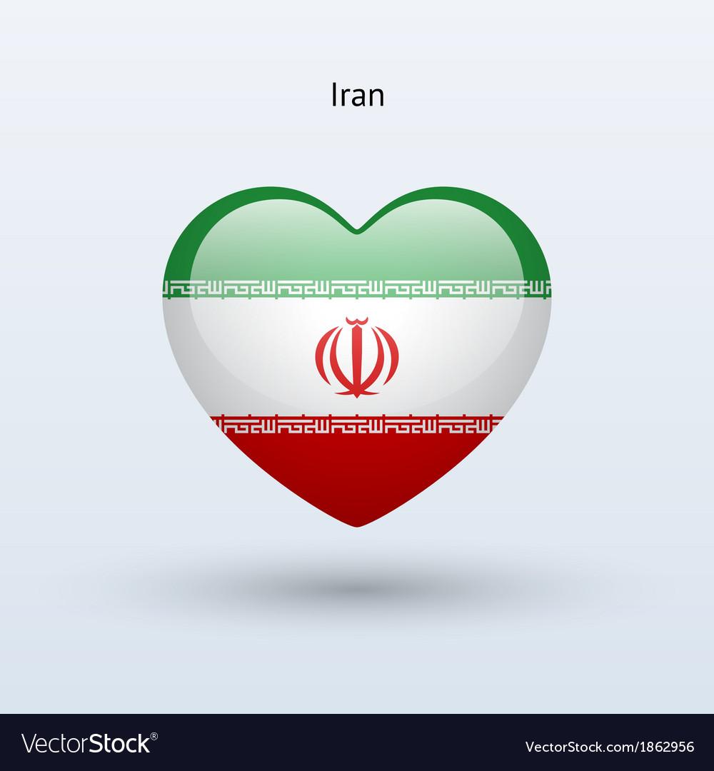 Love Iran Symbol Heart Flag Icon Royalty Free Vector Image