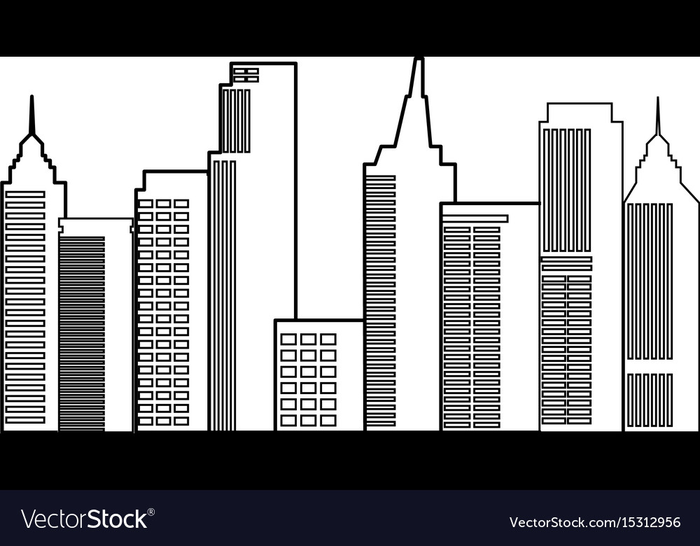 Modern city skyline town towers building vector image
