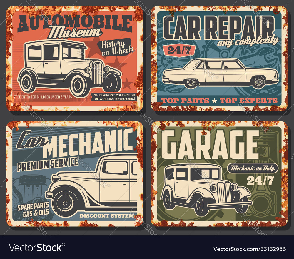 Old cars and vehicles rusty metal plate