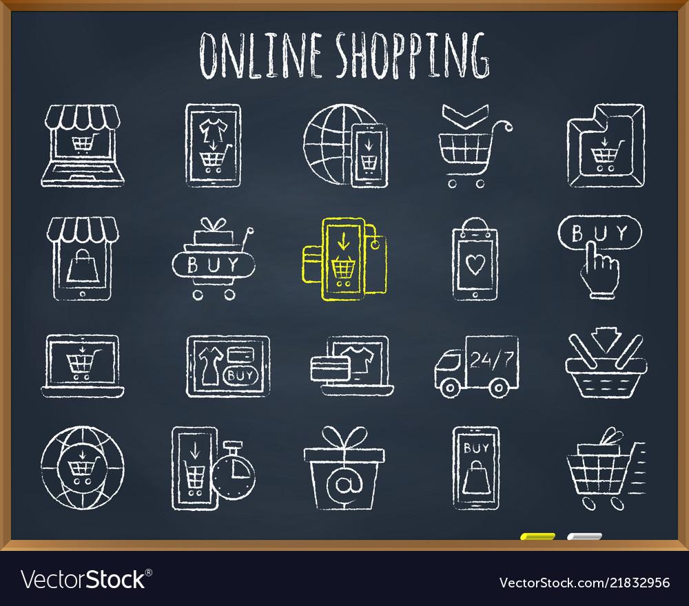 Online shop chalk draw line icons set