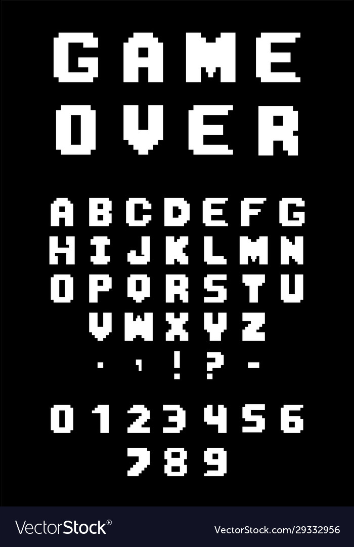 Pixel font for video games