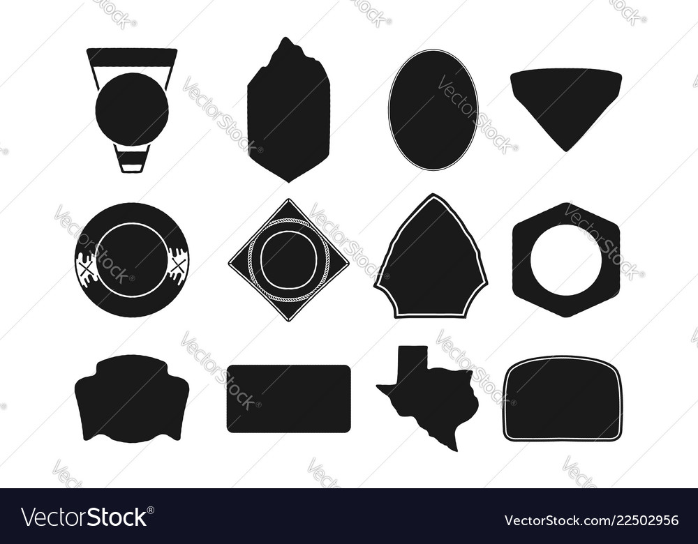 Set of black camping badge shapes included texas