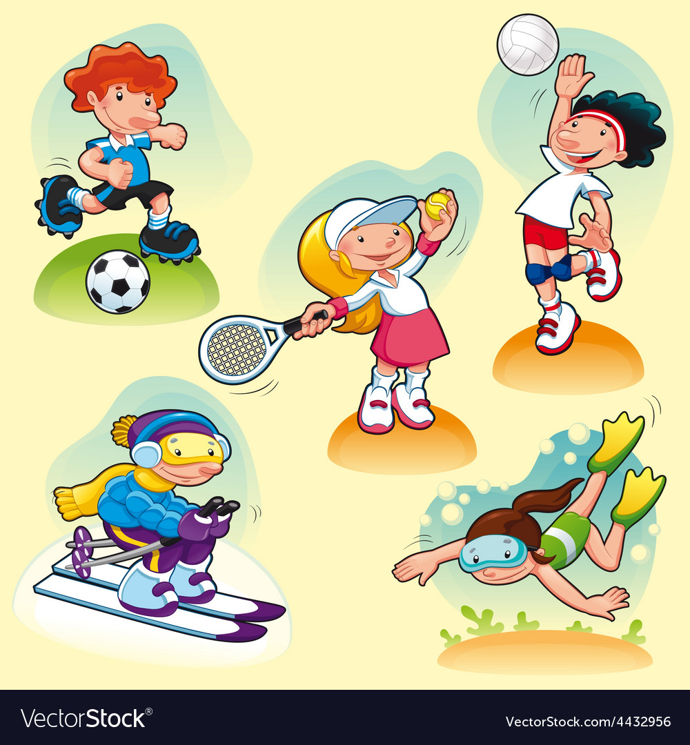 Sport characters with background vector image