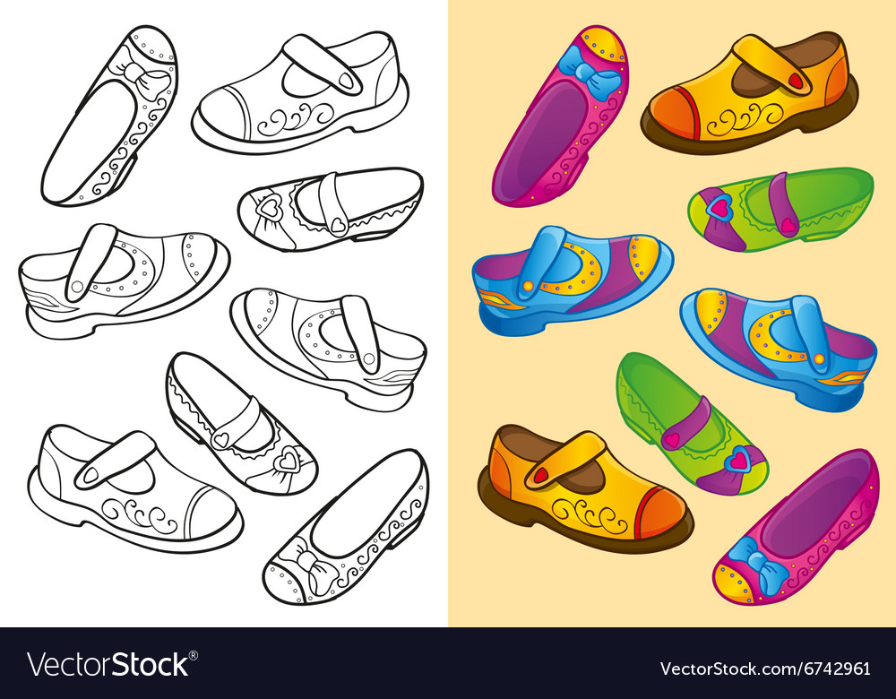 Coloring Book Of Set Dfferent Shoes