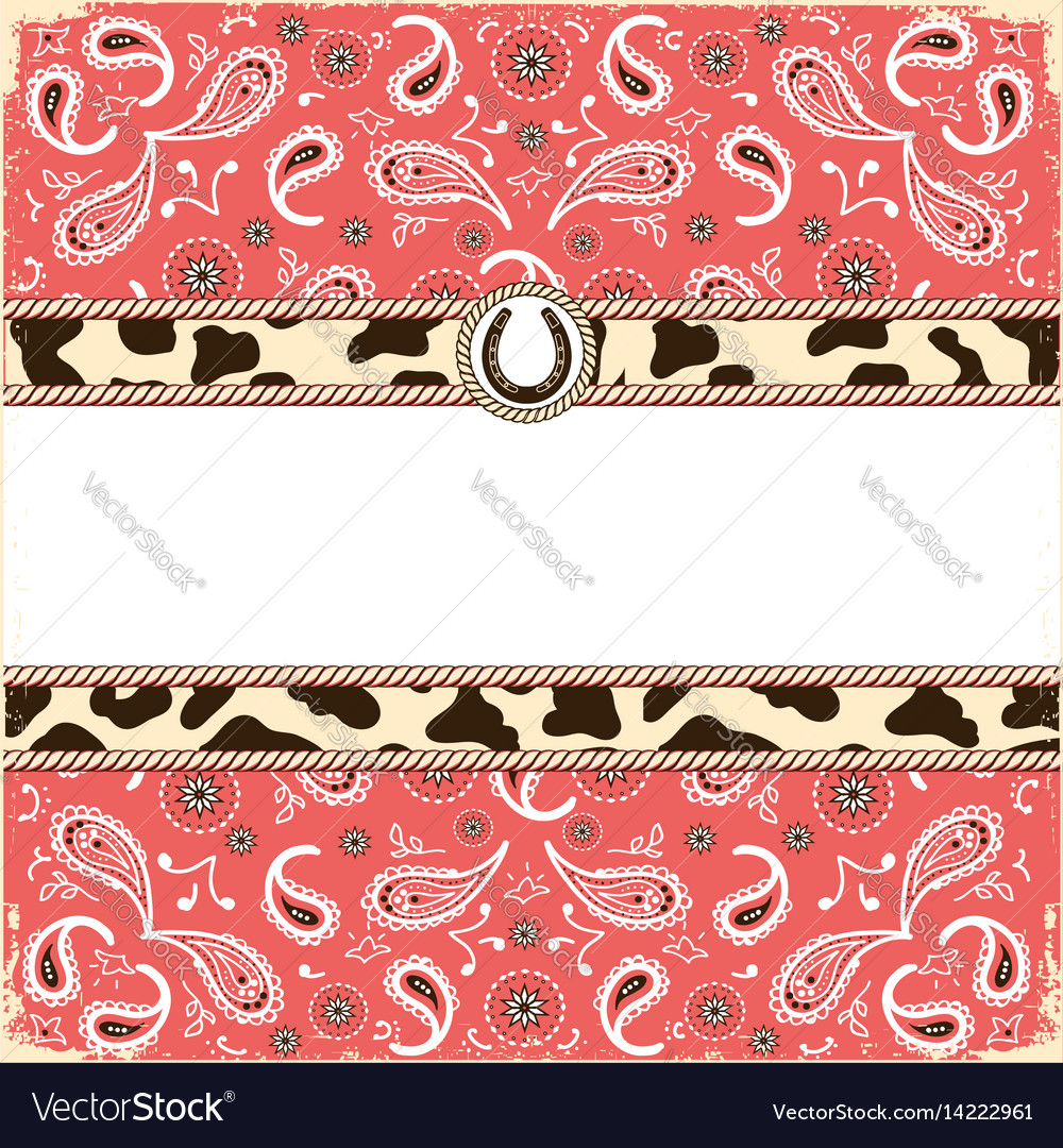 Cowboy party card for text color background vector image
