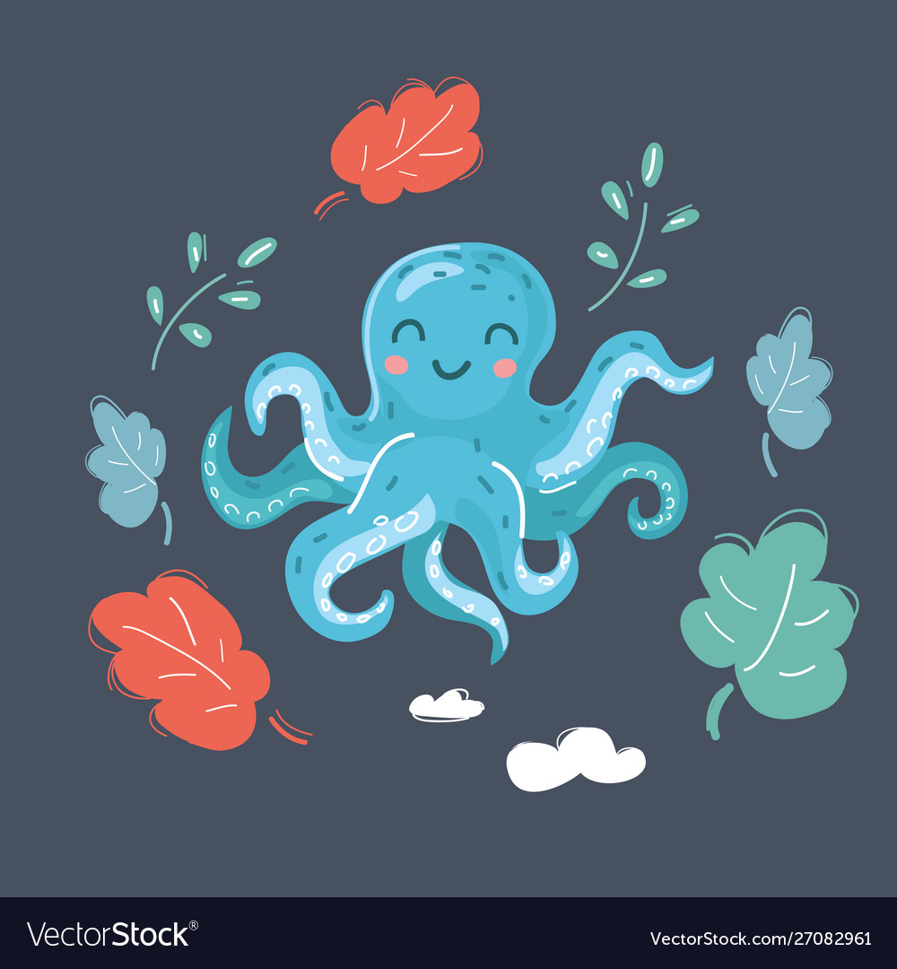 Cute cartoon image octopus