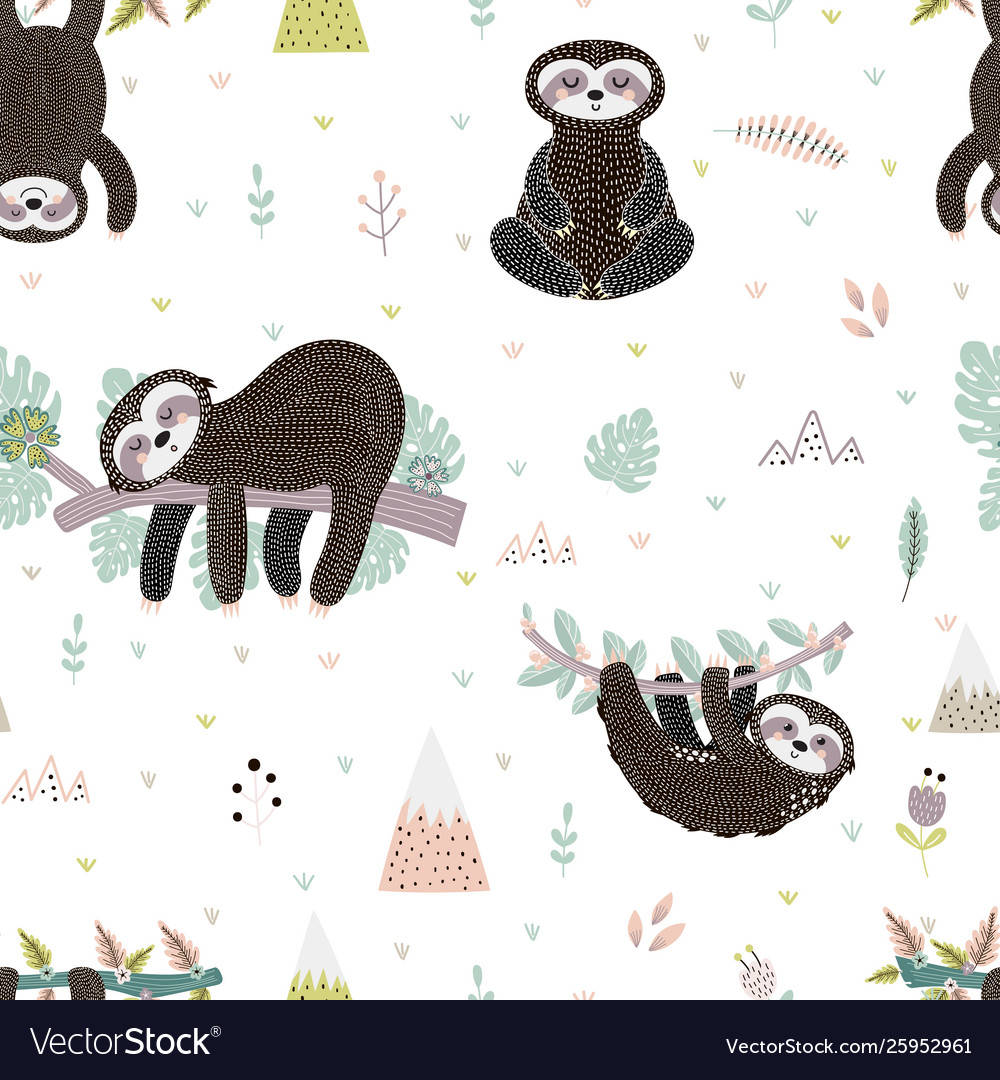 Cute sloth on branch seamless pattern